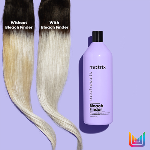 Matrix Bleach Finder Shampoo alongside two hair swatches showing even toning results