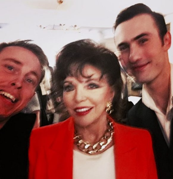 with Joan Collins, actress, and Charles Jeffrey, designer