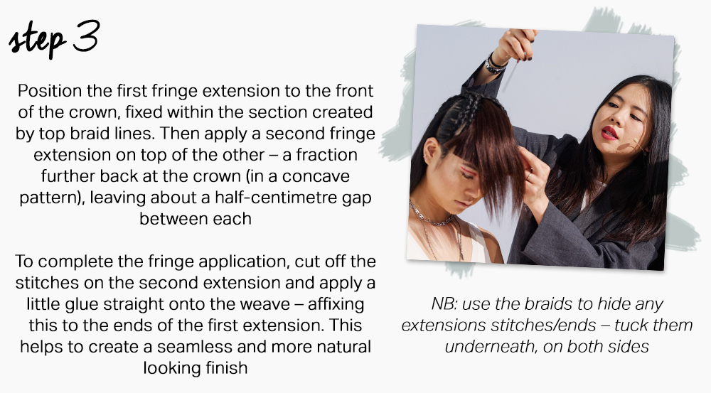 Winged fringe step by step by Rebecca Chang