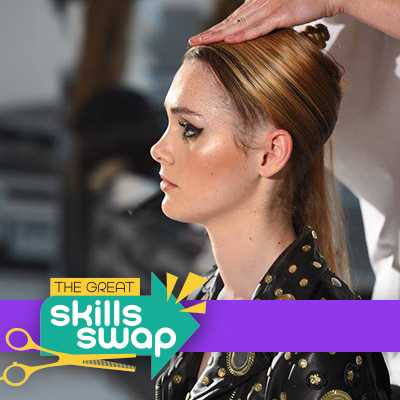 Get the look: Wig wrap with 90s-inspired grunge-look wig by Joshua Goldsworthy