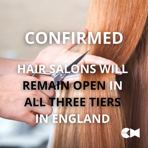 CONFIRMED – Salons and barbershops can reopen in all three tiers in England