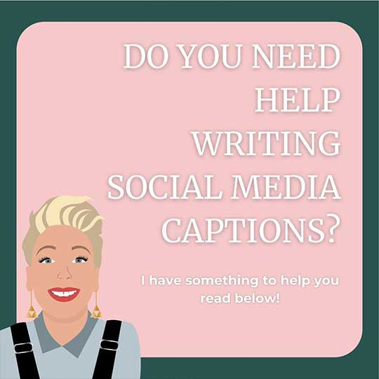 Graphic from Vivienne Johns' Instagram about writing social media captions