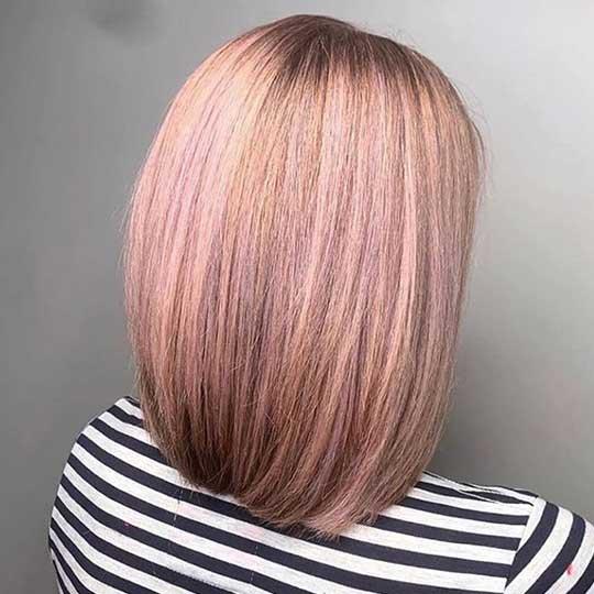 Dusty pink bob coloured by Sixth Sense Salon using Wella Professionals Koleston Perfect Me+