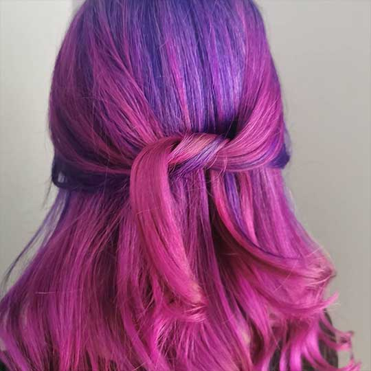 Purple and pink hair coloured with Wella Professionals Koleston Perfect Me+
