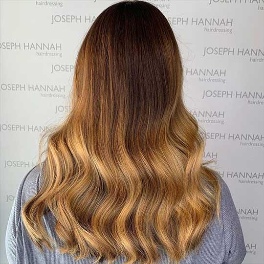 Blonde balayage coloured by Joe Clarke using Wella Professionals Koleston Perfect Me+