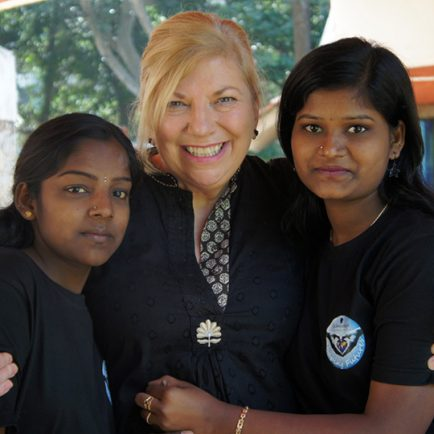 Janet Maitland with Shaping Futures students in 2013