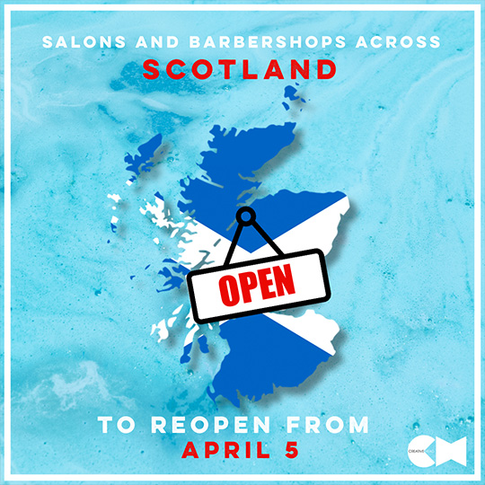 Map of Scotland with Open sign and 5 April date