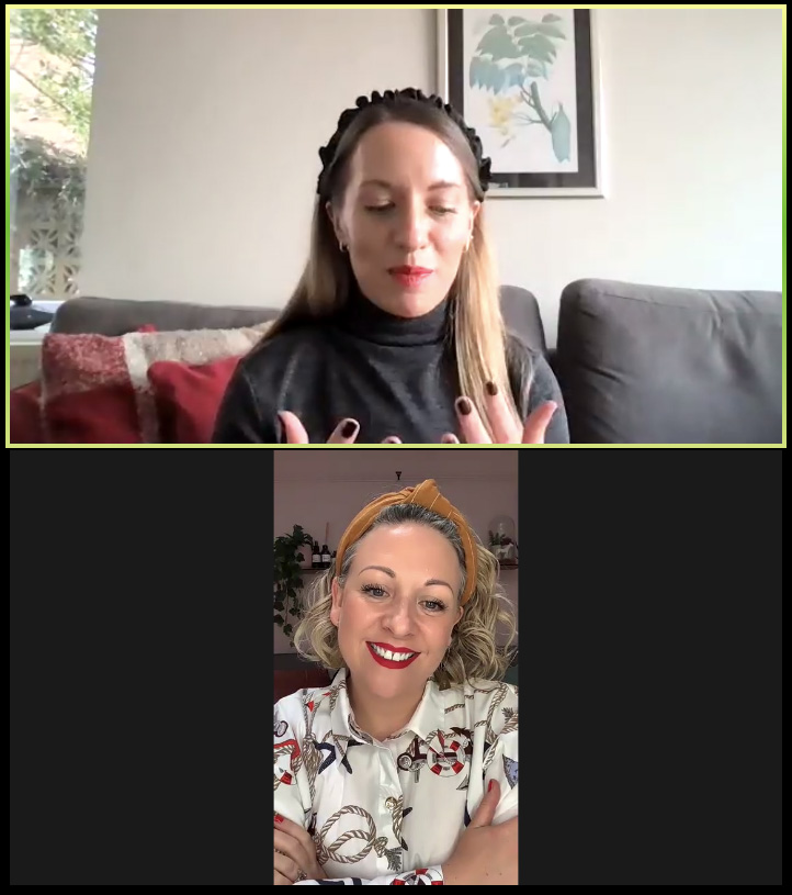 Deborah Murtha speaks to Vivienne Johns on Zoom during SELF/STYLED Sunday event