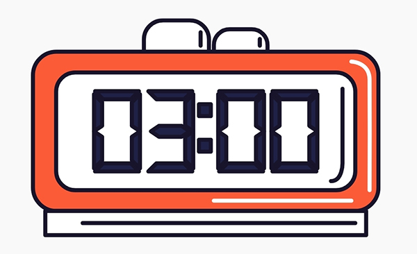 alarm clock icon showing 3am
