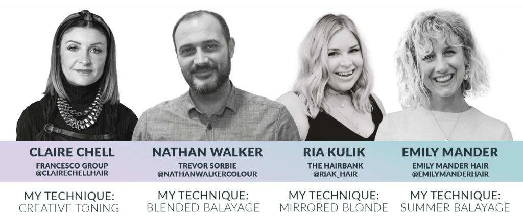 Blonde Unlocked Masterclass hair artist headshots: Claire Chell, Nathan Walker, Ria Kulik and Emily Mander
