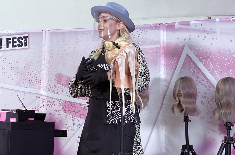 Harriet Stokes demonstrating the Pulp Riot High Speed Toners at Pulp Riot Fest 2021