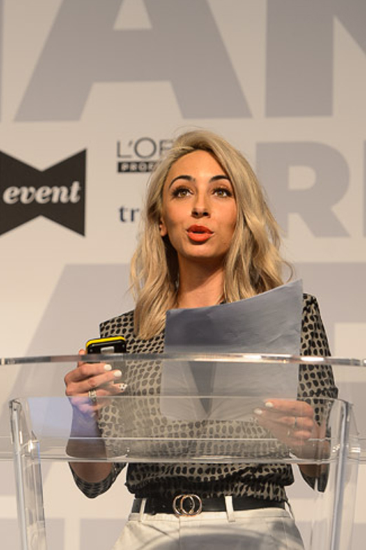 Jordanna Cobella, owner of Cobella salon, on stage at Creative HEAD Magazine's Salon Smart Live 2021