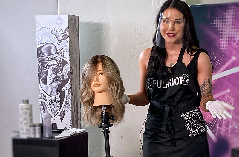 Laura May Stevens demonstrates the Pulp Riot Liquid Demi line at Pulp Riot Fest 2021