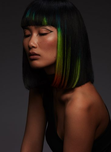 A long bob with rainbow flashes of colour from 'Spectrum', a collection by Alazne Montero