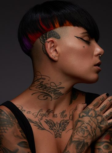 An undercut with red panels from 'Spectrum', a collection by Alazne Montero