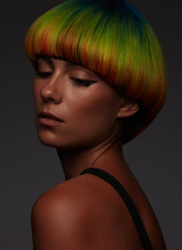 A rainbow pageboy style from 'Spectrum', a collection by Alazne Montero