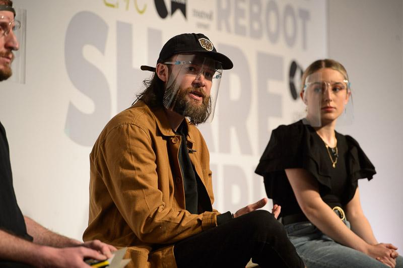Lee Nash-Jones and Robe White of Nashwhite salon on stage at Creative HEAD Magazine's Salon Smart Live 2021