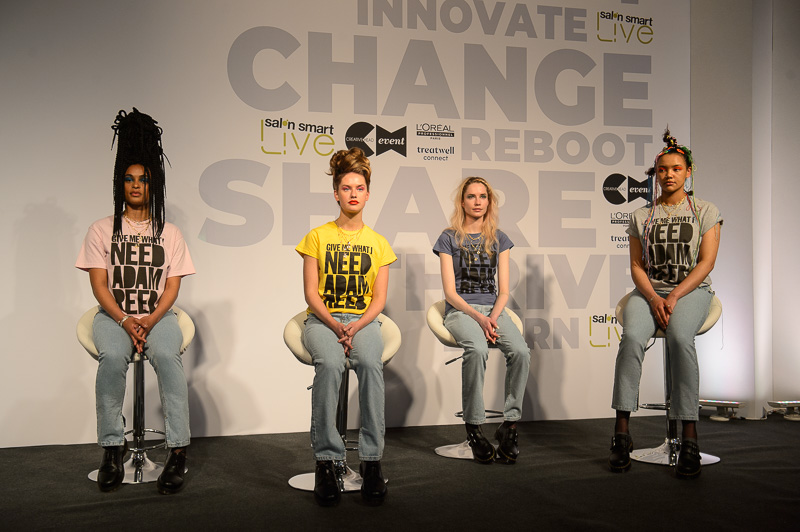 Adam Reed's four hair models on stage at Creative HEAD Magazine's Salon Smart Live 2021