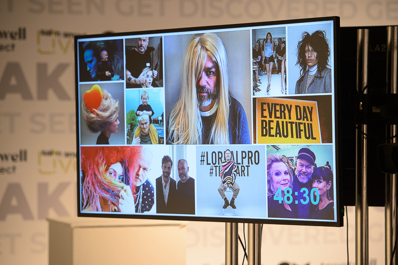 A slide showing a selection of Adam Reed's archive work on screen at at Creative HEAD Magazine's Salon Smart Live 2021