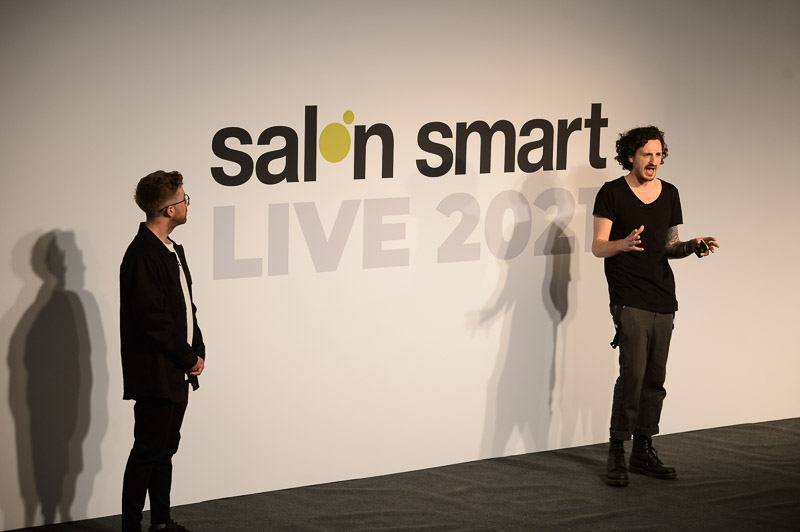 Ricky Walters, owner of Salon 64, and Stuart Whitelaw, owner of Mesart salon, on stage at Creative HEAD Magazine's Salon Smart Live 2021