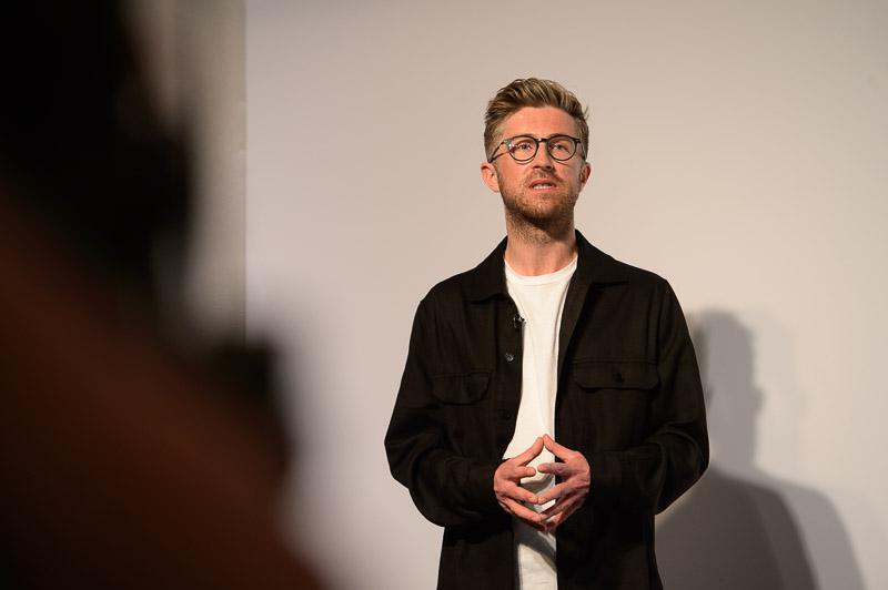 Stuart Whitelaw, owner of Mesart, on stage at Creative HEAD Magazine's Salon Smart Live 2021