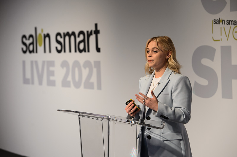 Harriet Stokes, owner of Humankind Hair,on stage at Creative HEAD Magazine's Salon Smart Live 2021