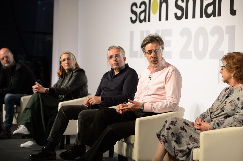The Great Debate Panel including NHBF's Richard Lambert on stage at Creative HEAD Magazine's Salon Smart Live 2021