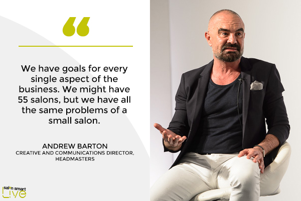Andrew Barton, creative and communications director at Headmasters, on stage at Salon Smart LIVE 2021