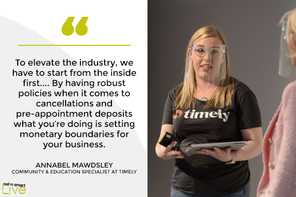 Annabel Mawdsley, community and education specialist at Timely, on stage at Salon Smart LIVE 2021