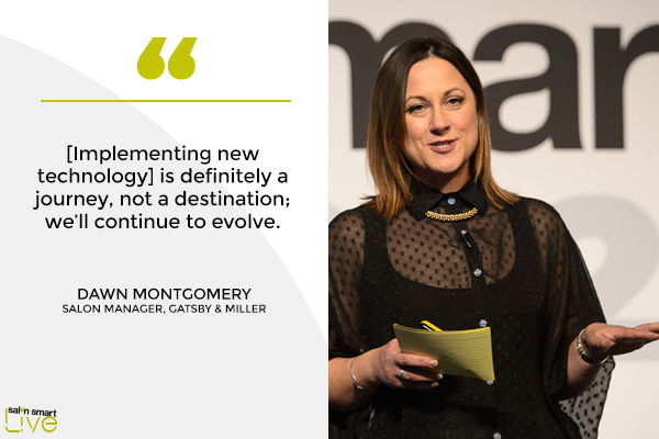 Dawn Montgomery, salon manager at Gatsby & Miller, on stage at Salon Smart LIVE 2021