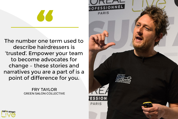 FryTaylor, Green Salon Collective, on stage at Salon Smart LIVE 2021