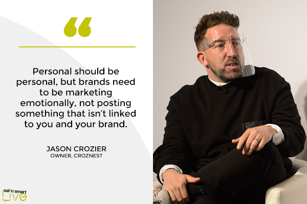 Jason Crozier, owner of Croznest, on stage at Salon Smart LIVE 2021