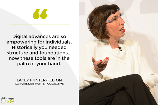 Lacey Hunter-Felton, co founder of Hunter Collective, on stage at Salon Smart LIVE 2021