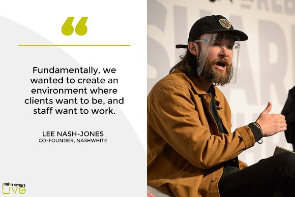 Lee Nash-Jones, co-founder of Nashwhite, on stage at Salon Smart LIVE 2021
