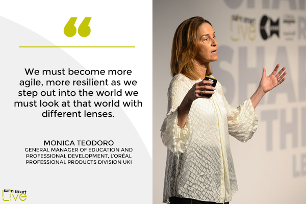 Monica Teodoro, general manager of education and professional development at L'Orél Professional Products Division, on stage at Salon Smart Live 2021