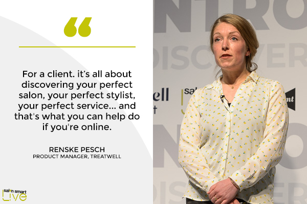 Renske Pesch, product manager, Treatwell, on stage at Salon Smart LIVE 2021