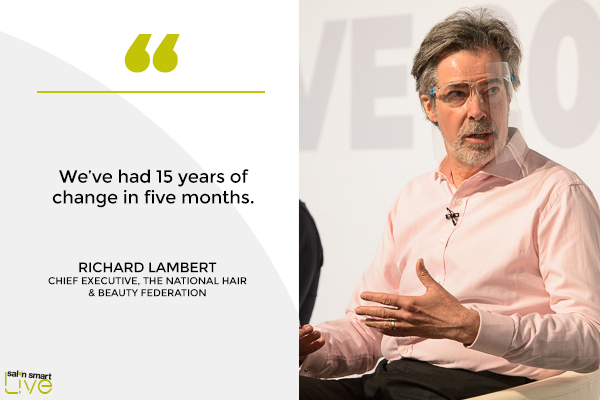 Richard Lambert, Chief Executive, The National Hair & Beauty Federation, on stage at Salon Smart LIVE 2021
