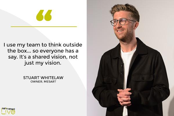 Stuart Whitelaw, owner, Mesart, on stage at Salon Smart LIVE 2021