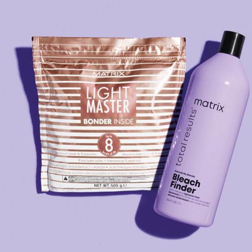 Matrix Light Master with Bonder Inside bleach pack, alongside a bottle of Matrix Bleach Finder shampoo