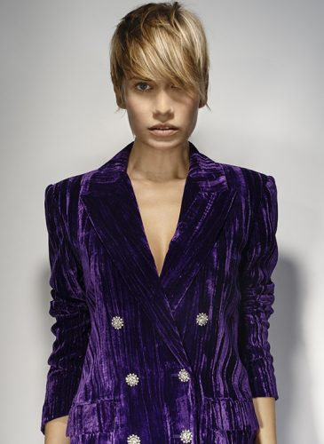A dark blonde cropped style, with lengths swept over the model's eyes, taken from the 'Freak Out' collection by Pierre Ginsburg