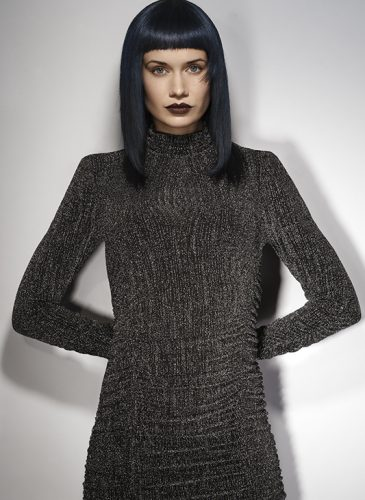 A blue-black, pin-straight shoulder length style, with a full, short fringe taken from the 'Freak Out' collection by Pierre Ginsburg