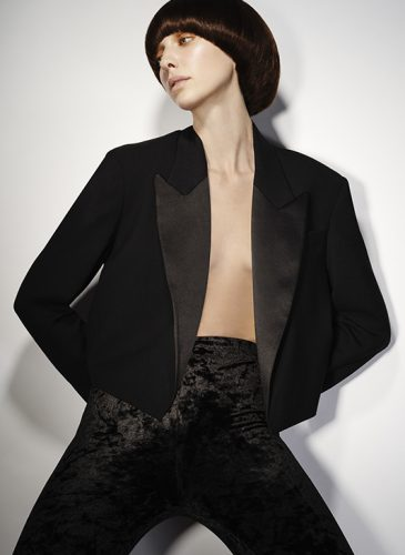 A sleek black 'Purdy' haircut, taken from the 'Freak Out' collection by Pierre Ginsburg