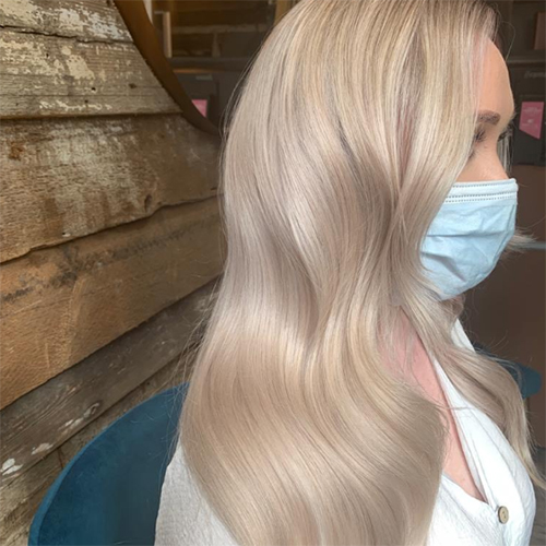 Matrix Unbreak My Blonde after shot of long, cool blonde hair