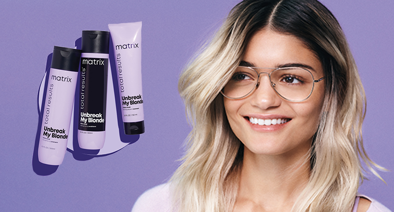 Matrix Unbreak My Blonde campaign model and products