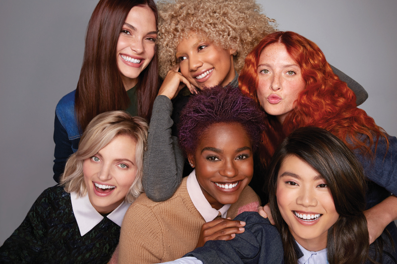 Group of models with different coloured hair, including blonde and brunette